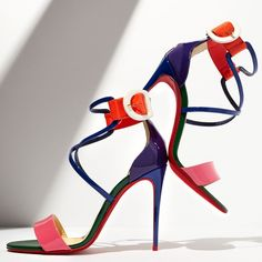 Christian Louboutin 'Choca' Colorblock Red Sole Sandals