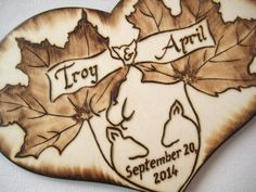 Deer Wedding Cake Topper -Camo, Hunting, Leaves, Autumn, heart cake topper with pyrography -Custom on Etsy, $24.50