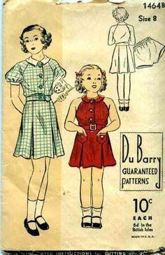 #Vintage #Sewing #Pattern 1930s DuBarry Girls #Dress & Panties