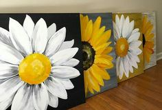 Could do two smaller paintings- Sunflower Painting and Daisy Painting Diy Canvas, Acrylic Painting Canvas, Painting On Wood, Canvas Art, House Painting, Canvas Ideas, Black Canvas Paintings, Wood Paintings, Daisy Painting