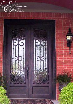 Custom wrought iron front door. Iron Front Door, Double Doors, Wrought Iron, Bar, Living Room, Furniture, Home Decor, Decoration Home, Room Decor