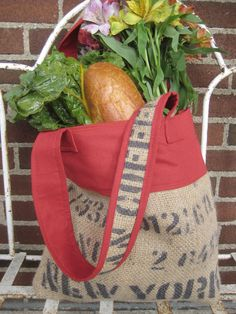 Upcycled Burlap Coffee Farmers Market Bag - Etsy.
