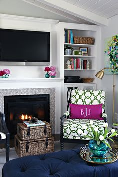 Love the bold & playful, yet traditional look of this cozy living room.