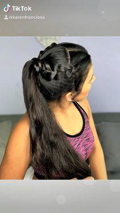 Gym hairstyles - peinado para el gimnasio - peinados fáciles y rápidos para entrenar #boxbraids #twobraids #esasybraids Cute Hairstyles For School, Cute Simple Hairstyles, Quick Hairstyles, Everyday Hairstyles, Athletic Hairstyles, Sporty Hairstyles, Easy Hairstyle Video, Volleyball Hairstyles, Wedding Hair Inspiration