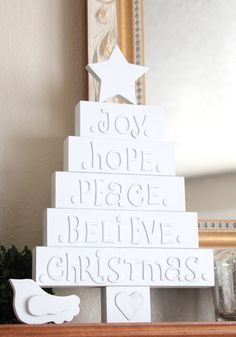 wood tree w/ small chipboard letters