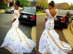 2015 Sexy V Neck 1/2 Sleeve White Mermaid African Wedding Dresses ...