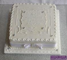 Anniversary Cake, I like the white on white (anniversary cake ideas) Diamond Anniversary Cake, 25th Wedding Anniversary Cakes, Anniversary Ideas, Diamond Wedding Cakes, Diamond Cake, Wedding Sheet Cakes, 50th Cake, Unique Cakes, Celebration Cakes