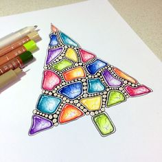 Christmas zentangle tree with zengems by Janet Plantinga