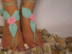 Crochet Barefoot Sandals, Kenmare Lace, Foot jewelry, Wedding, Crochet Sandles, Sexy, Yoga, Anklet , Bellydance, Pink and Sea Green.