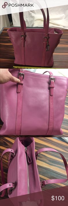 Pink Coach Purse Tote Handbag adjustable strap Beautiful authentic coach purse tote with adjustable arm or shoulder straps very clean rarely used retail new for over $300 comes from smoke-free pet free home Coach Bags Totes