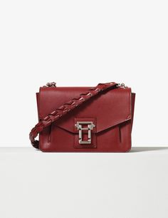 Proenza Schouler Red plum smooth leather whipstitch strap Hava shoulder bag