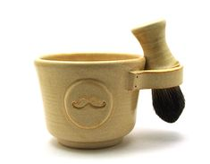 Cream Mens Shaving Set Includes Mustache Shave by MiriHardyPottery