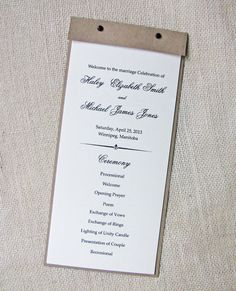 Kraft Rustic Shabby Chic Wedding Program by LoveofCreating on Etsy, $175.00 we can totally do this...  but i love the wording