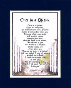Once In A Lifetime Sentimental Gift For Husband Wife Girlfriend Or