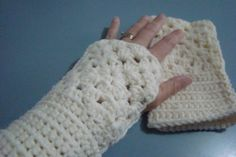 off white fingerless mittens in granny square
