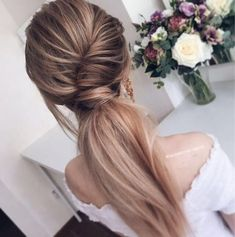 pretty low ponytail hairstyle for prom