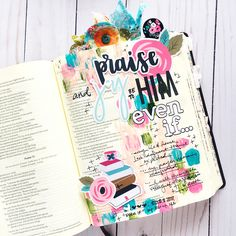 Mixed media bible journaling entry by bailey robert words of worship: even Scripture Doodle, Scripture Study, Bible Art, Bible Prayers, Bible Scriptures, Bible Quotes, Bible Study Journal, Art Journaling, Nature Journal