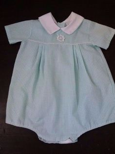 Vintage Baby Boy Girl Bubble Romper 18M Green Gingham Plaid Seersucker Anchor  #SomethingPretty #Dressy