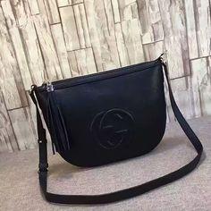 8869a49146dc Gucci Soho Leather Shoulder Bag Black 308361 Gucci Shoulder Bag, Leather  Shoulder Bag, Shoulder