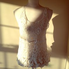 Forever 21 White Crochet Top - Size Small Sheer, solid back Forever 21 Tops
