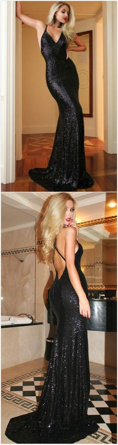 Black Hot Sequined Backless Mermaid Prom Dresses 2017