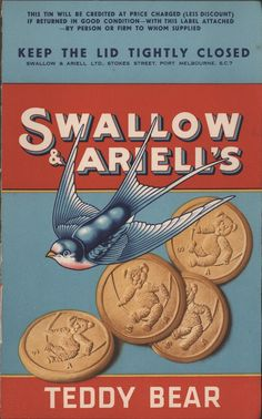Museums Victoria Collections Item HT Pad - Tin Labels, Swallow & Ariell Ltd, Teddy Bear Biscuits, Advertising Pictures, Retro Advertising, Advertising Signs, Vintage Advertisements, Vintage Ads, Vintage Images, Vintage Posters, Sweet Memories, Childhood Memories