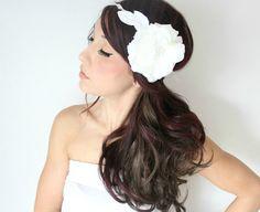 Grecian Wedding Tiara, Flower Crown, White whimsical fairy wedding, bridal accessories, wedding hair. $85.00, via Etsy.