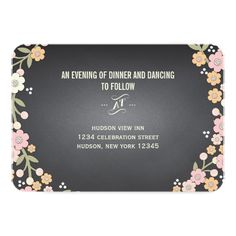 Charming Garden Floral Wreath Wedding Reception Invite