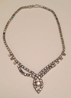 Vintage Rhinestone Necklace by wonderfulathome on Etsy, $28.95
