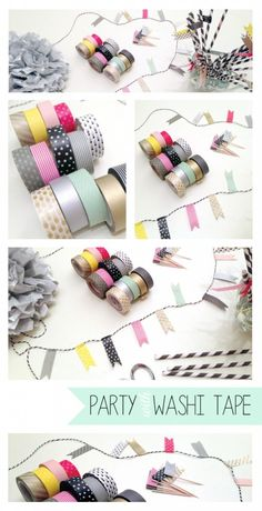 DIY Party Decorations with Washi Tape Washi Tape Diy, Washi Tapes, Masking Tape, Birthday Banners, Birthday Diy, Mod Podge Glitter, Bunting Garland, Paper Crafts, Diy Crafts