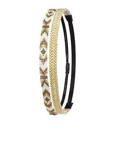Braided Metallic & Beaded Head Wraps - 2 Pack: Charlotte Russe