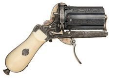 peashooter85:  Exceptional Relief Engraved Pinfire Pepperbox Revolver with Ivory Grip and Extremely Rare Pipe Case. Mid 19th century. Sold a...