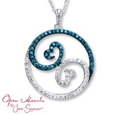 open hearts by jane seymour | Jared - Open Hearts Waves 1 ct tw Diamonds 14K White Gold Necklace