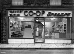 size: Photographic Print: Barnsley Co-Op Grocers, South Yorkshire, 1954 by Michael Walters : Supermarket Design, South Yorkshire, Barnsley, Blackpool, Local History, Home Photo, Stock Photos, Pinterest Marketing, Media Marketing