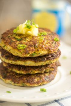Creamy Cauliflower Fritters. A new and improved recipe that is awesome. (thehealthyfoodie.com)