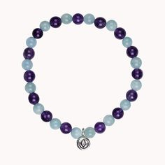 made of Amazonite and Amethyst with Silver Lotus charm....