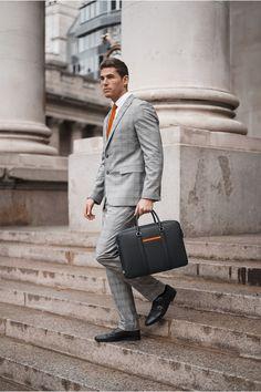 Leather Briefcase, Gentleman Style, Modern Man, Manhattan, Navy, Cotton, Men, Accessories, Collection
