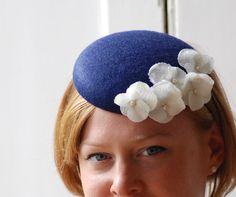 beautiful navy felt button hat / fascinator with white flowers, felt wedding pillbox hat / blue wedding fascinator
