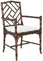 Chinoiserie Chic: The Chinese Chippendale Chair from William Sonoma with arms and without Williams Sonoma, British Colonial Decor, Chippendale Chairs, Bamboo Furniture, Bamboo Chairs, Oriental Furniture, Chinoiserie Chic, Faux Bamboo, Furniture Styles