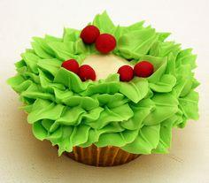 """Festive Christmas Wreath Cupcake..."""