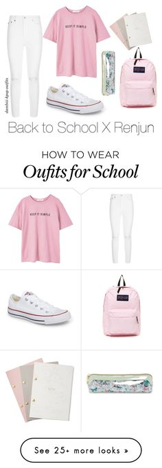 """Back to School X Renjun"" by dambiii on Polyvore featuring AG Adriano Goldschmied, MANGO, Converse, JanSport, StudioSarah and Ted Baker"
