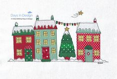White Christmas - snowy houses picture. A4 Print. Textile and free-motion embroidery. FREE POSTAGE!