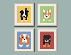 Dog prints Dog Art. Puppy nursery art prints Any 4 8x10. Baby nursery decor kids art. Kids wall art. Kids decor, puppy dogs by WallFry. $47.00, via Etsy.