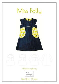 Miss Polly is a sweet vintage inspired semi-fitted A- line style dress that offers three main views - sleeveless, capped sleeve and then either