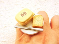 Miniature food ring of bread and butter.