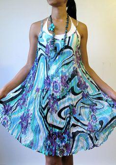 New - Asymmetric Extravagant soft Blue Aqua Floral Flower Sun Dress #Handmade #Sundress #SummerBeach