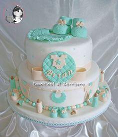 Tan & Green Baby Shower Cake