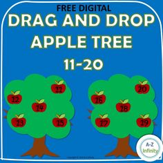 FREEBIE Drag and Drop 11-20 Apple Tree Teaching Letter Sounds, Teaching Letters, Fun Math Worksheets, Learning Resources, Lined Writing Paper, Teaching Style, Teaching Ideas, Math Practices, Writing Numbers
