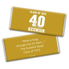 Check out Class Reunion Favors: Varsity Reunion Hershey Bar Wrappers | Wrapped HERSHEY'S Candy from WH Candy