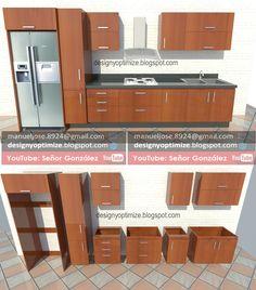 Diseño De Muebles Madera: Planos Para Construir Cocina De 4 Metros Despiece Lista De Cortes
